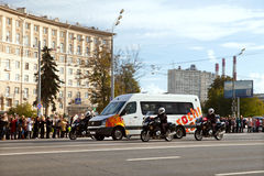 Transportation of Olympic flame from airport Vnukovo to Red Square Stock Images