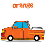Transportation of orange car vector art Royalty Free Stock Images
