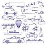 Transportation outline blue simple icons set Royalty Free Stock Photo