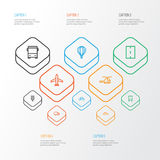 Transportation Outline Icons Set. Collection Of Traffic Light, Train, Aircraft And Other Elements. Also Includes Symbols Royalty Free Stock Images