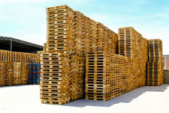Transportation pallets. For cargo and logistic at warehouse Stock Images