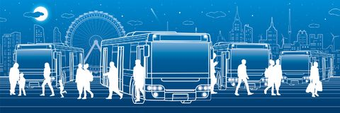Transportation panoramic. Passengers enter and exit to the bus. People at the station. Town transport infrastructure. Night city a. T background, vector design Stock Photos