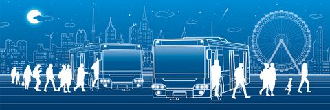Transportation panoramic. Passengers enter and exit to the bus. Town transport infrastructure. Night city at background, vector de. Sign art Royalty Free Stock Images