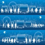 Transportation panoramic set. Passengers enter and exit to the bus. People at the station. Town transport infrastructure. Night ci. Ty at background, vector Stock Photos