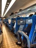 Transportation. Passenger on Shinkansen, bullet train, rapid transportation in Japan Stock Photos