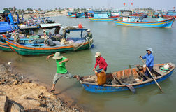 Transportation People And Goods By Wooden Boat At Habor Stock Photography