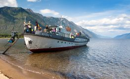 Transportation of people on the ship Stock Images
