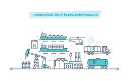 Transportation of petroleum products. Oil plant, production, gasoline, transportation, storage. Transportation of petroleum products. Production and stock illustration