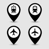 Transportation pin pointer icons set great for any use. Vector EPS10. Stock Images