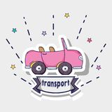 Transportation pink car patches design. Vector illustration Royalty Free Stock Photos