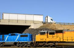 Transportation of products using rail and road Royalty Free Stock Images