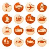 Transportation progress stickers. Set of transportation progress stickers Royalty Free Stock Images