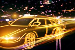 Transportation and race concept. Creative drawing of orange digital car drawing on blurry night city background. Transportation and race concept. 3D Rendering Stock Images