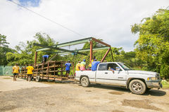 Transportation of rafts on the Martha Brae Rive in Jamaica. Royalty Free Stock Image