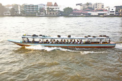 Transportation on the river in Bangkok in sunrise in a ferry Royalty Free Stock Photos