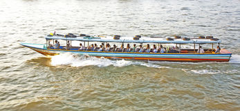 Transportation on the river in Bangkok in sunrise in a ferry Royalty Free Stock Image