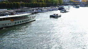 Transportation in  River Seine stock video footage
