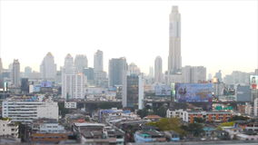 Transportation on road with high building in Bangkok,Thailand stock video