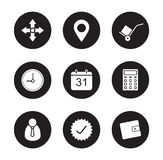 Transportation service black icons set Royalty Free Stock Photo
