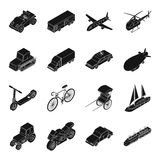 Transportation set icons in black style. Big collection of transportation vector symbol stock illustration Royalty Free Stock Photos