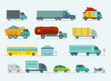 Transportation set. Trucks end bus, passenger cars Royalty Free Stock Image