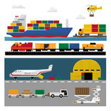 Transportation and Shipping Icons Flat Set Stock Photos