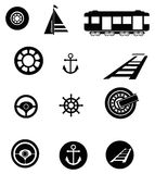 Transportation silhouette icon set Royalty Free Stock Photography