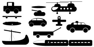 Transportation Silhouettes Royalty Free Stock Photography