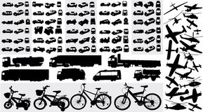 Transportation silhouettes. Vector collection of transportation silhouettes Royalty Free Stock Photo