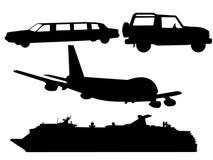 Transportation silhouettes Stock Photos