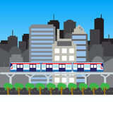 Transportation sky train in a city pixels art Stock Photography