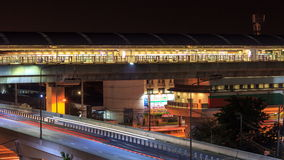 Transportation sky train and mass transit at night. Timelapse stock video