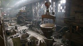 Transportation slag in metallurgical plant. Transportation slag from the metallurgical plant stock video footage