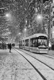Transportation in snowy winter Royalty Free Stock Image