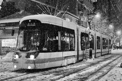 Transportation in snowy winter Royalty Free Stock Photo