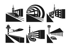 Transportation stations vector icons set Stock Images