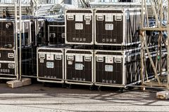 Transportation and storage of concert equipment royalty free stock photos