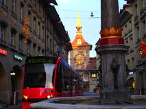 The transportation in Switzerland is second to none. The beautiful capital city Berne royalty free stock photo