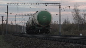 Transportation tank cars with oil stock video footage