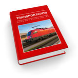 Transportation textbook. Red transportation textbook isolated over white Royalty Free Stock Photo