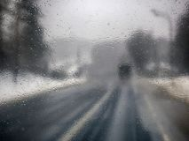 Transportation theme. Road cars theme, motorway. Blurred. Transportation theme. Road cars theme, motorway. Delivery of goods in bad weather snow storm royalty free stock photos