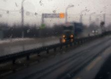 Transportation theme. Road cars theme, motorway. Blurred. Transportation theme. Road cars theme, motorway. Delivery of goods in bad weather snow storm stock photos