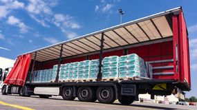 . fastening of freight in the trailer . distribution warehouse . Transportation . There is a loading to the truck trailer . Truck Trailer . Cargo Transportation stock photos