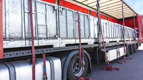 . fastening of freight in the trailer . distribution warehouse . Transportation . There is a loading to the truck trailer . Truck Trailer . Cargo Transportation stock photography