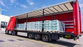. fastening of freight in the trailer . distribution warehouse . Transportation . There is a loading to the truck trailer . Truck Trailer . Cargo Transportation stock image