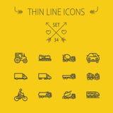 Transportation thin line icon set Stock Image