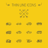 Transportation thin line icon set. For web and mobile. Set includes- trucks, van, helicopter, bus, delivery  van, cars icons. Modern minimalistic flat design Royalty Free Stock Image