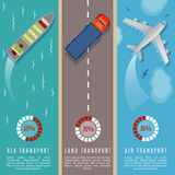Transportation top view infographics vector illustration. Transport and delivery by land transport, sea and plane Stock Photos