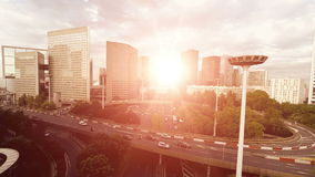 Transportation traffic background. Aerial view of modern cityscape buildings district stock footage