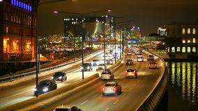 Transportation traffic in Stockholm, Sweden. Night scenery of highway in Stockholm, Sweden stock footage